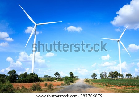 Wind turbine farm, generating electricity in Thailand