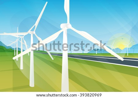 Wind turbine farm in green fields during sunrise. Ecology environmental background for presentations, websites, infographics and banners. Modern realistic design