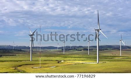 Wind turbine farm in Spain. - stock photo
