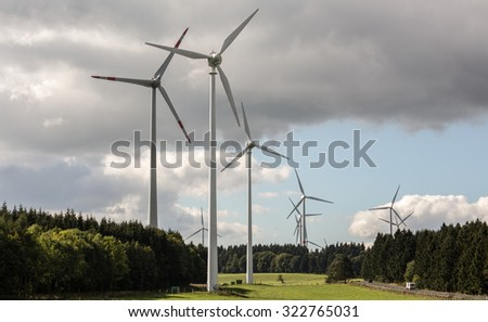 wind turbine farm in the countryside - stock photo