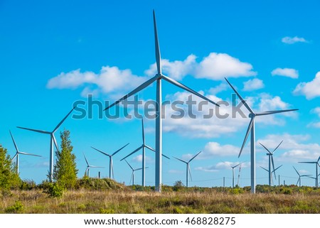 Wind turbine farm near Paldiski. Pakri peninsula, Baltic Sea, Estonia, Europe