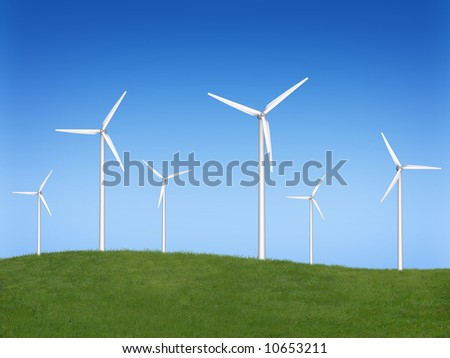 Wind turbine farm over sky