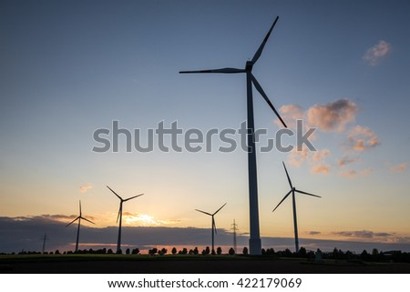 wind turbine farm sundown