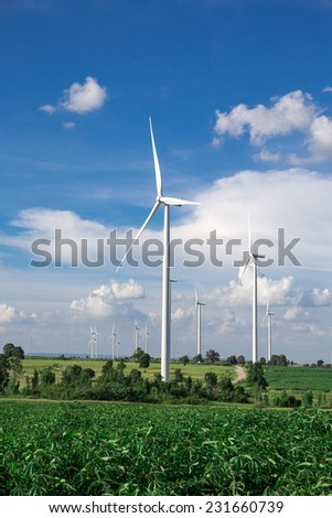 Wind Turbine Farm with blue sky - stock photo