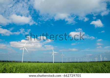 Wind turbine farm with blue sky, wind mill view, Nature Energy