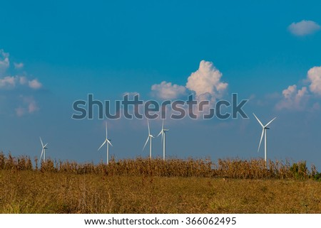 Wind turbine fields. Wind turbines generating electricity. Wind turbine fields in Thailand. Renewable Energy. Alternative energy. - stock photo