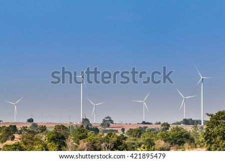 Wind turbine fields. Wind turbines generating electricity. Wind turbine fields in Thailand. Renewable Energy. Alternative energy. - stock photo