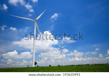 Wind Turbine Fields with Blue Sky