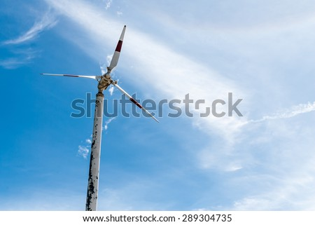 wind turbine fix with blue sky thailand - stock photo