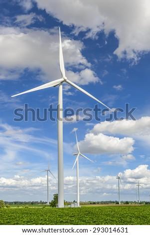 wind turbine for green energy, reduce global warming - stock photo