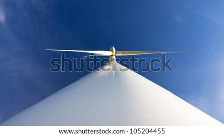 Wind turbine from below - stock photo