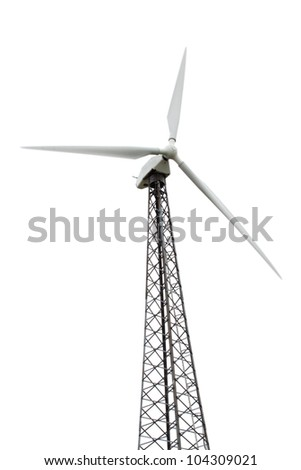 wind turbine generating electricity on white background