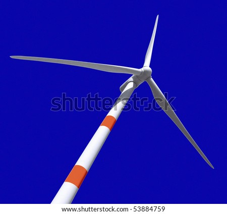 Wind turbine generating electricity over blue sky. Clipping path.