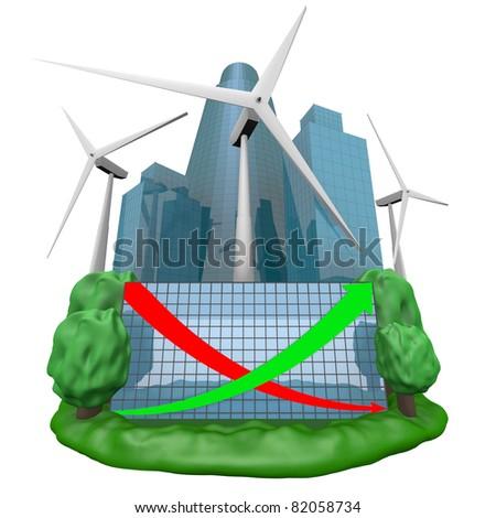 wind-turbine generator and the Future city - stock photo