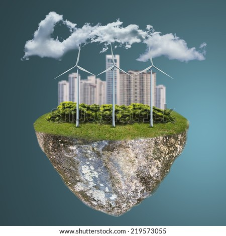 Wind turbine,Green energy with your hand in the future - stock photo