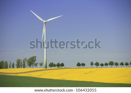 Wind turbine in a blooming canola field in Saxony, Germany - stock photo