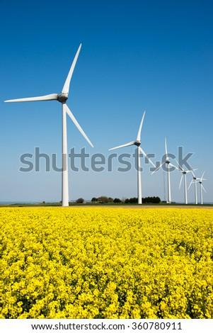 Wind turbine in a yellow flower field of rapeseed - stock photo