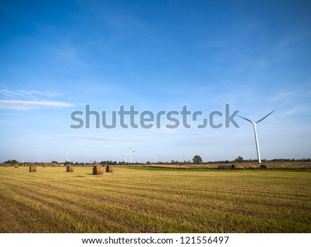 Wind turbine in hay field with blue sky in the background.