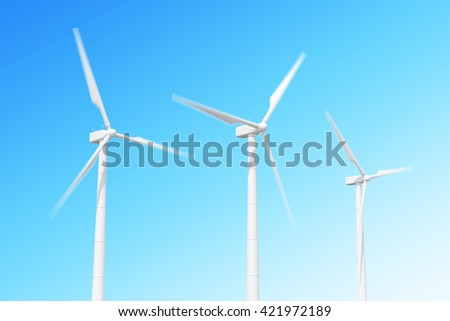 wind turbine in motion on skiy background. 3d illustration  - stock photo