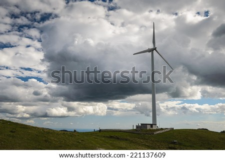 Wind turbine in mountains,Sommeralm ,Styria,Austria. - stock photo