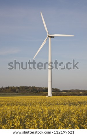 Wind turbine in oilseed rape field