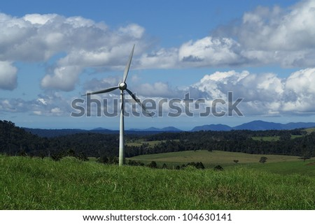 wind turbine in tropical North Queensland, Atherton Tablelands, Australia - stock photo