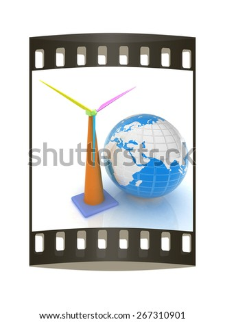 Wind turbine isolated on white. Global concept with earth. The film strip - stock photo