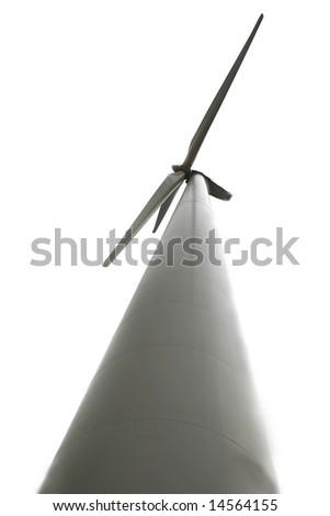 wind turbine isolated over white - stock photo