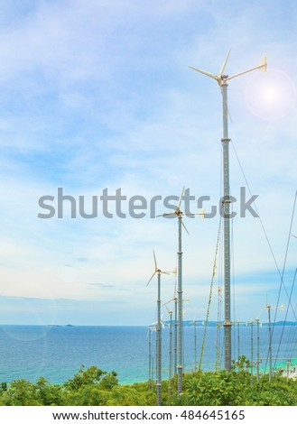 Wind turbine Koh Larn is land,A blue sky and sunshine at Koh Larn island Pattaya Thailand
