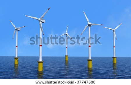 wind turbine offshore in a beautiful day - rendering - stock photo
