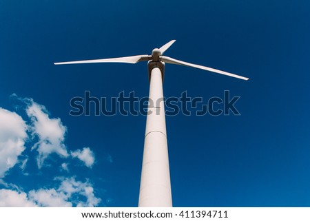 Wind turbine on a clear day