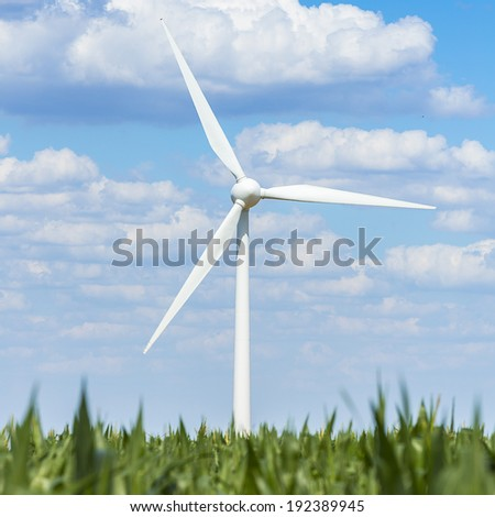 Wind turbine on a maize field agriculture landscape with blue cloudy sky - stock photo