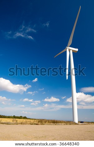 wind turbine on blue sky