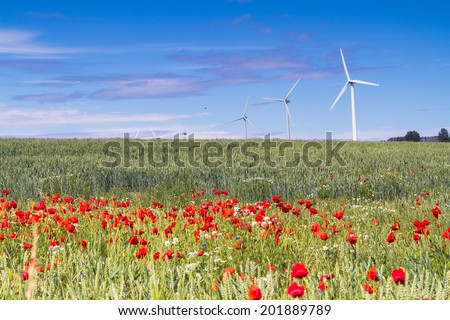 Wind turbine on Bornholm island with red poppy flowers in a foreground, Denmark - stock photo