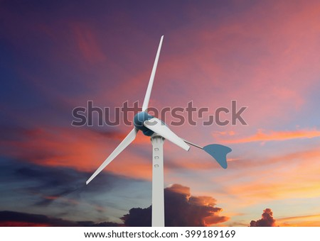 Wind turbine on  colorful sky background , (with clipping path)
