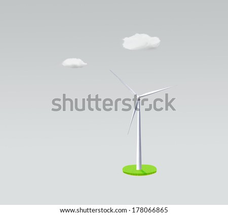 wind turbine on gray background, green energy concept - stock photo