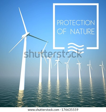 Wind turbine on sea: Generating green energy - stock photo