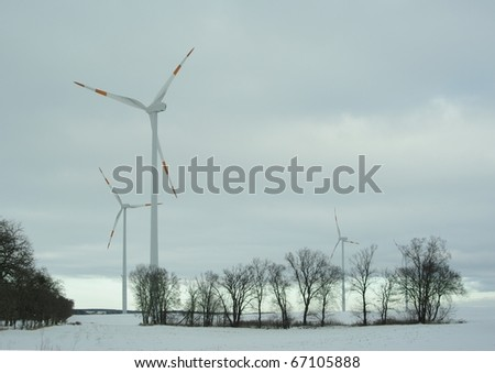 wind turbine on winter scenery