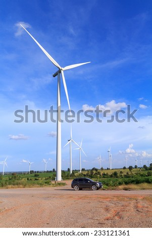 Wind turbine power generator ( renewable energy source) - stock photo