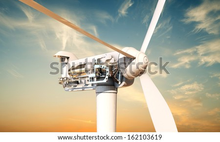 wind turbine section  - stock photo
