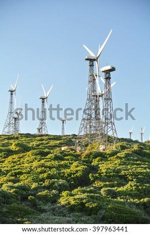 wind turbine, wind generator, wind power unit, wind energy converter - stock photo