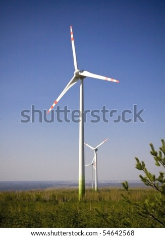 Wind Turbine with nature background with clipping path