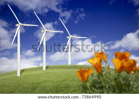 Wind Turbines Against Dramatic Sky, Clouds and California Poppies in the Foreground.