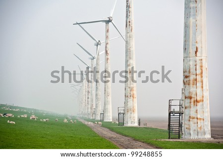 Wind turbines along a dam in spring