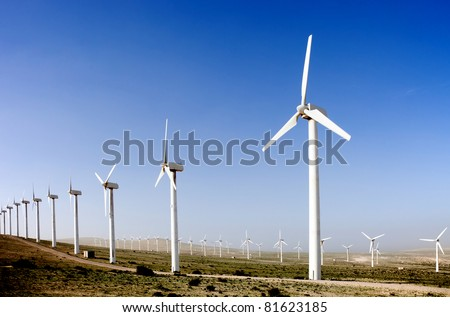 wind turbines alternative energy source - stock photo