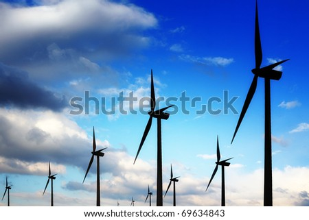 Wind turbines and blue sky