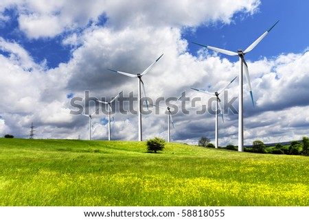 Wind turbines and green field