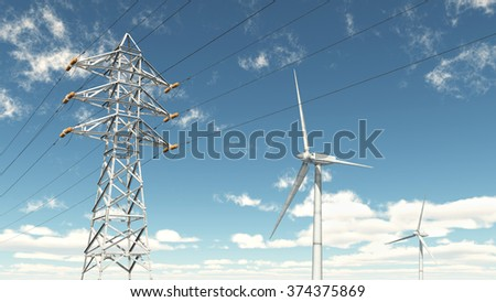 Wind turbines and overhead power line Computer generated 3D illustration - stock photo