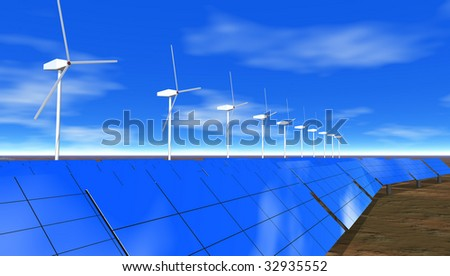Wind turbines and solar electric panels under blue sky