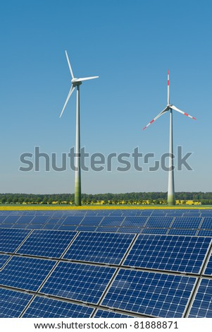Wind turbines and solar panels against a rapeseed field